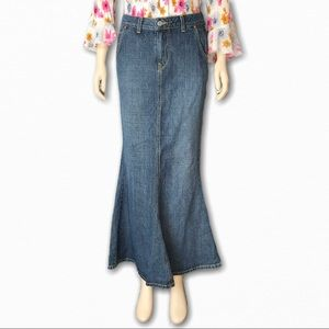 Long Vintage Jean Dungarees Skirt by Lucky Brand